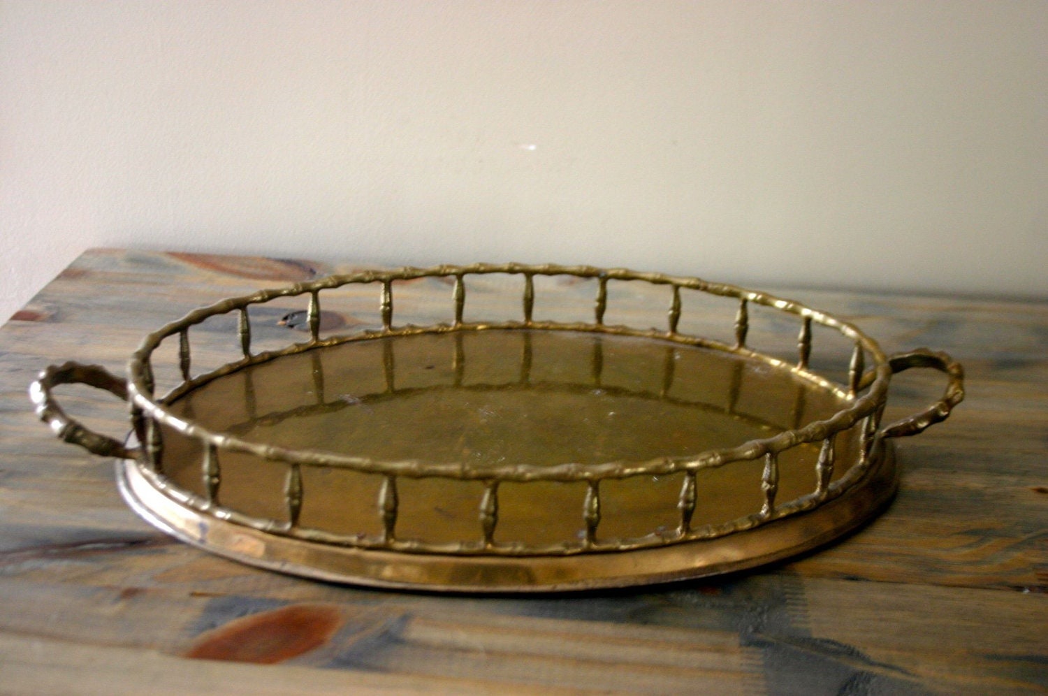 Vintage Round Brass Bamboo Tray