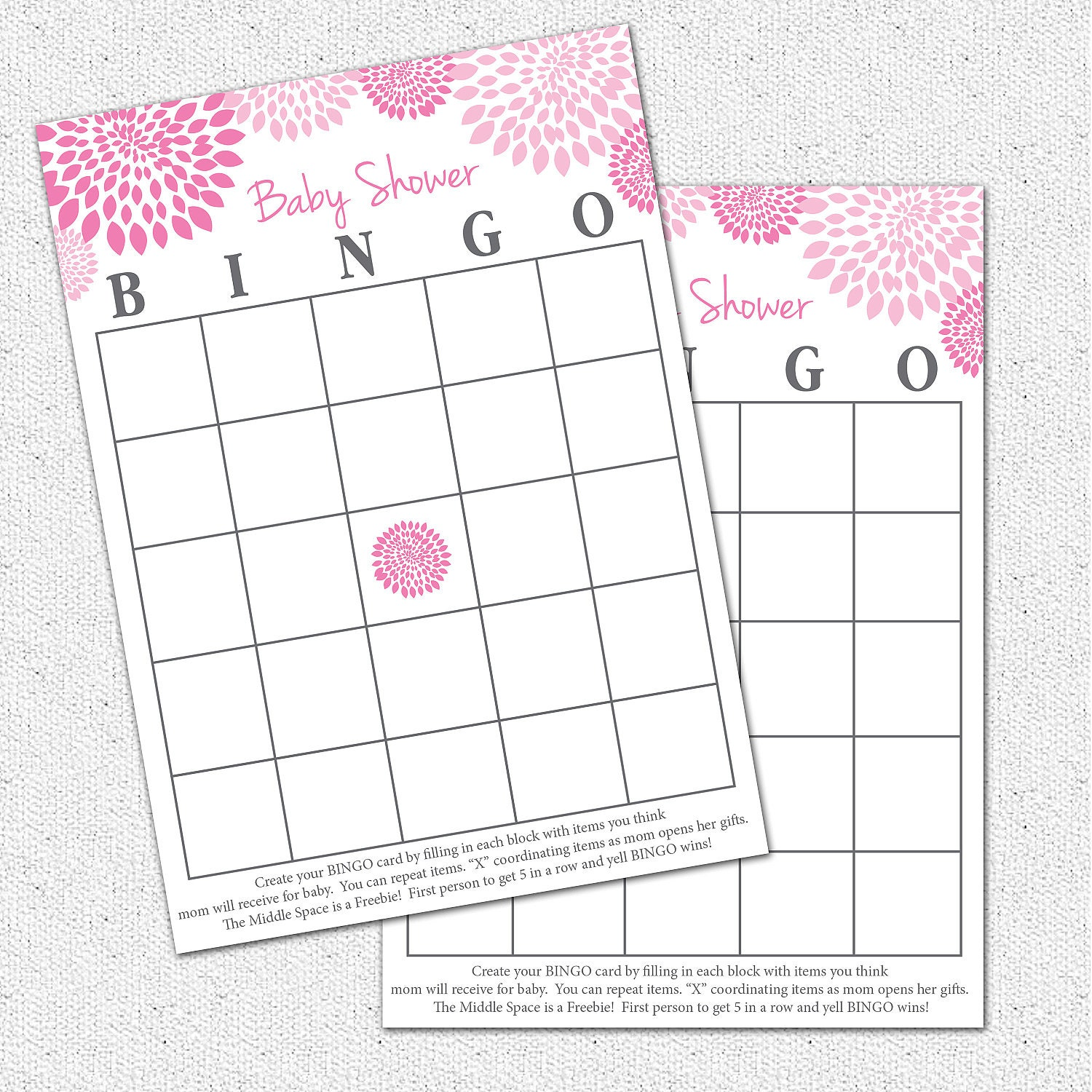Baby Shower BINGO Game Printable Girl Hot and by OhCreativeOne