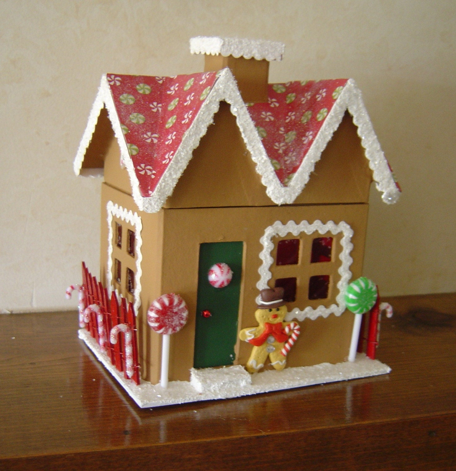 Christmas paper mache gingerbread house 6 by for Paper mache christmas