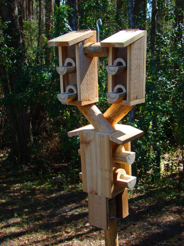 Outdoor bird house feeder looks like 3 by woodbirdfeederfrenzy for Different bird houses