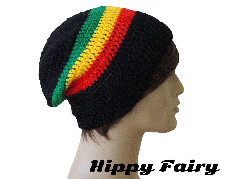Rasta beanie Mens slouchy beanie Rasta hat Mens by HippyFairy Dreadlock Hats For Men
