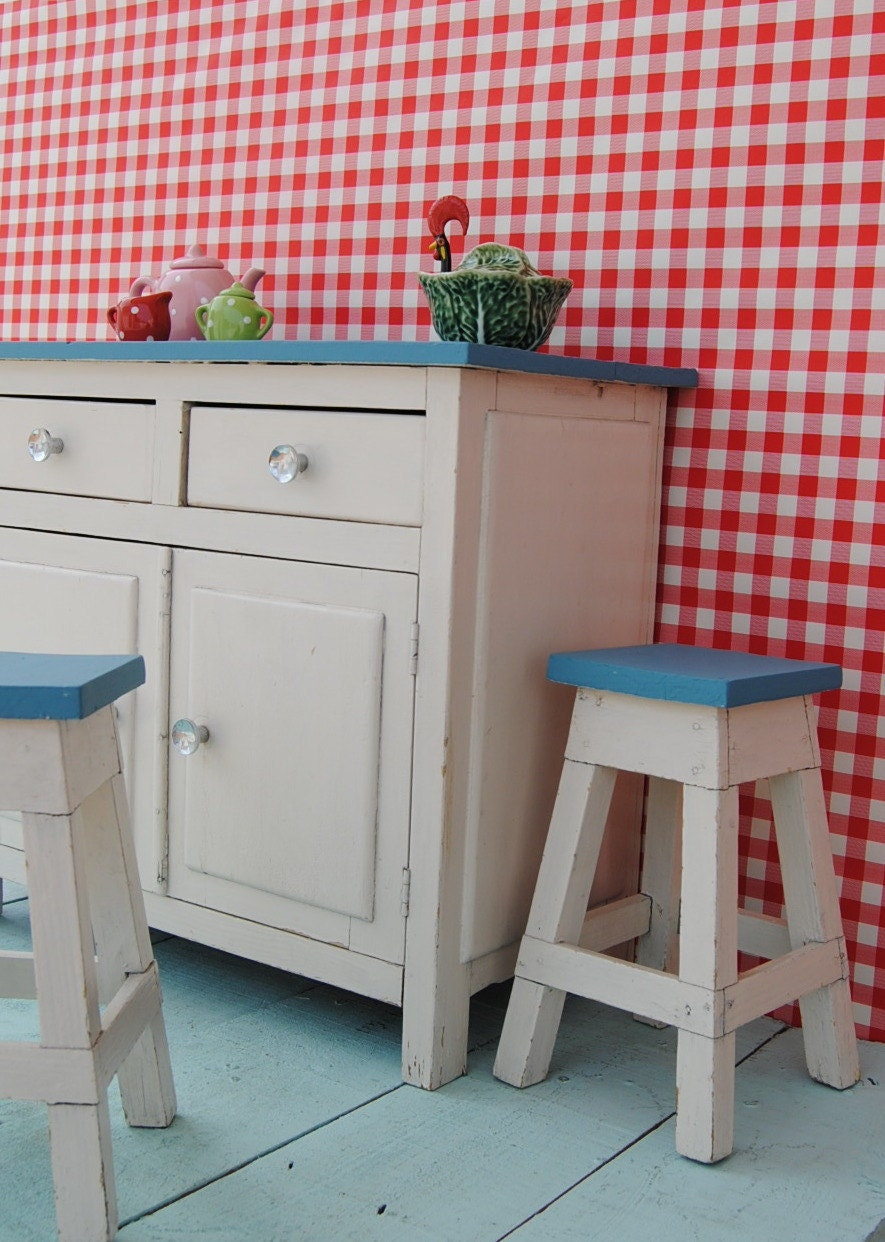 Unique 1950's vintage miniature TOY KITCHEN SET - handmade wooden furniture: cupboard & 2 stools