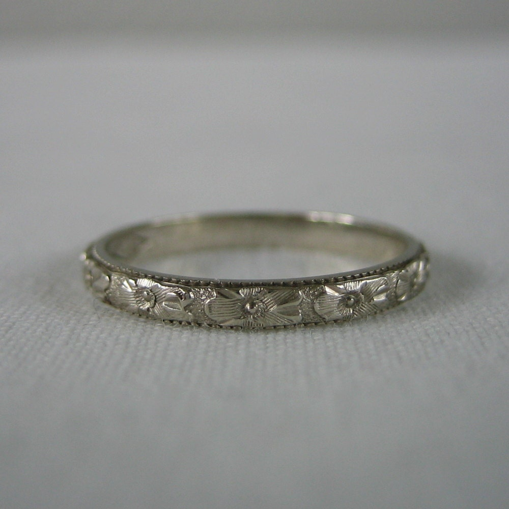 Wedding Band Orange Blossom Pattern Floral Etched 14 By Addy