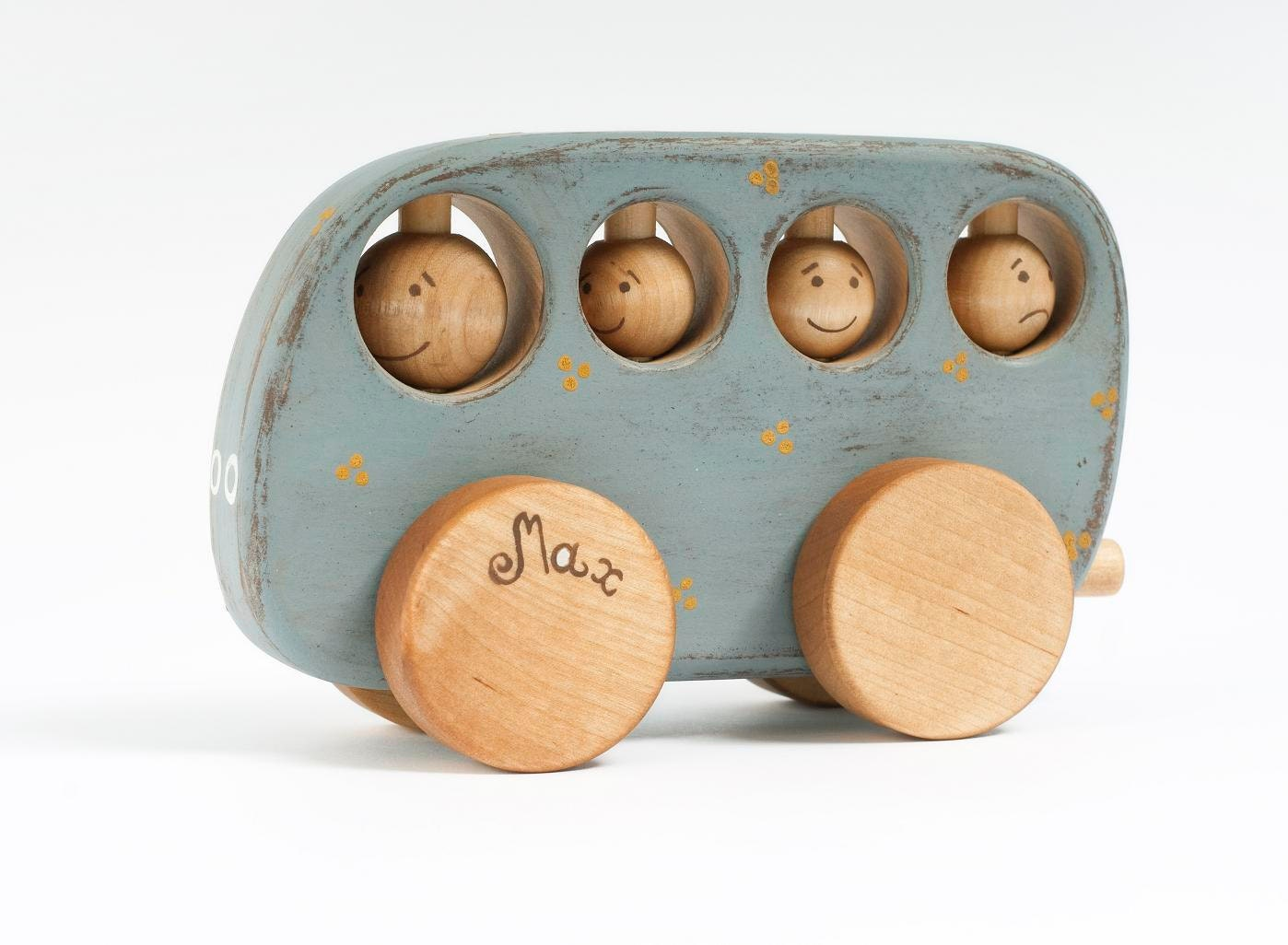 Personalized Wooden Bus natural light blue kids toy - FriendlyToys