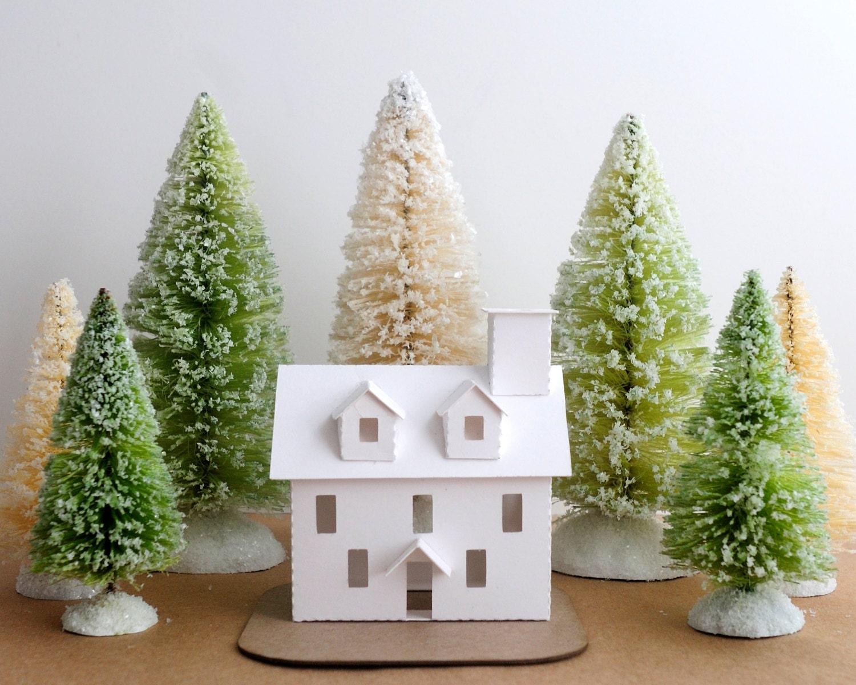 Putz House Ornament DIY Kit Colonial Glitter House Christmas Decoration - HolidaySpiritsDecor