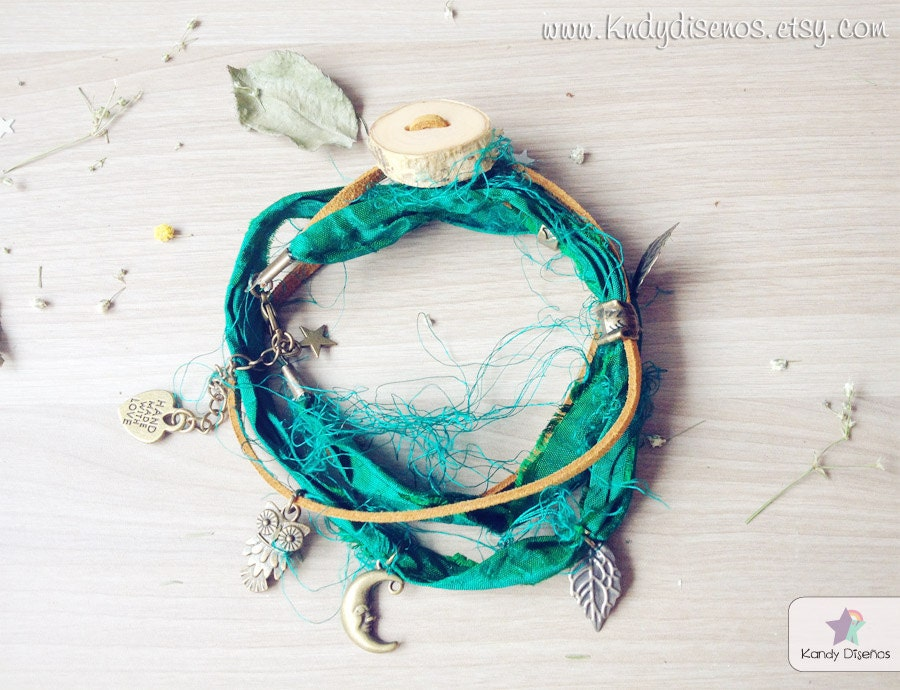 Forest Woodland Night Anklet bracelet Boho. Wood Fox Multiway Anklet Necklace Bracelet. Organic Birch. Woodland Fairies. Green Sari Silk - KandyDisenos