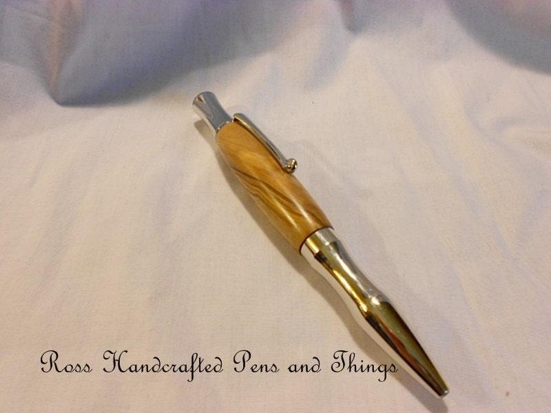 Olive wood Handcrafted Olive Wood Twist Pen in Platinum - RossHandcraftedPens