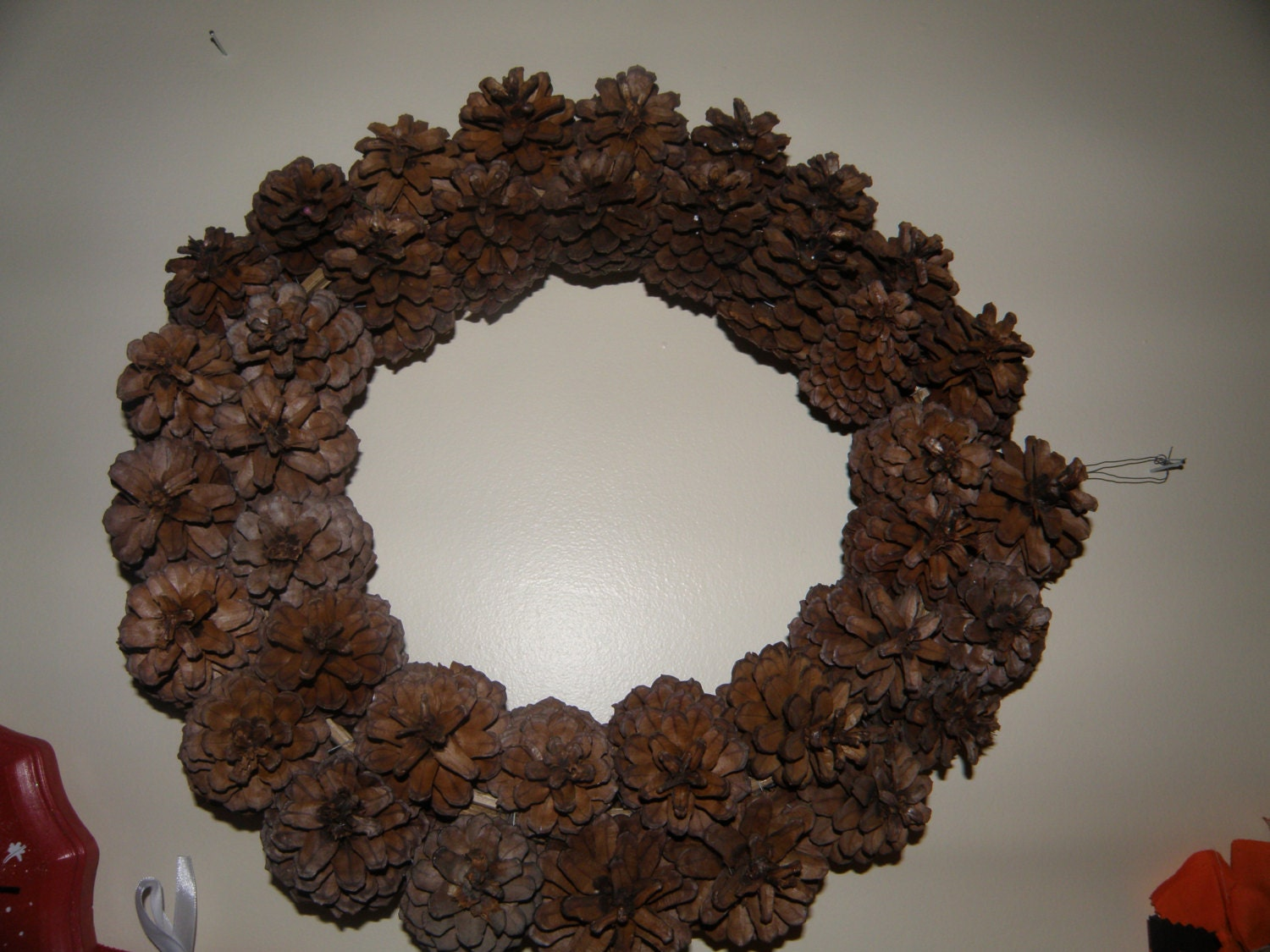 Large pine cone wreath christmas by candysgifts4u on etsy for Large christmas pine cones