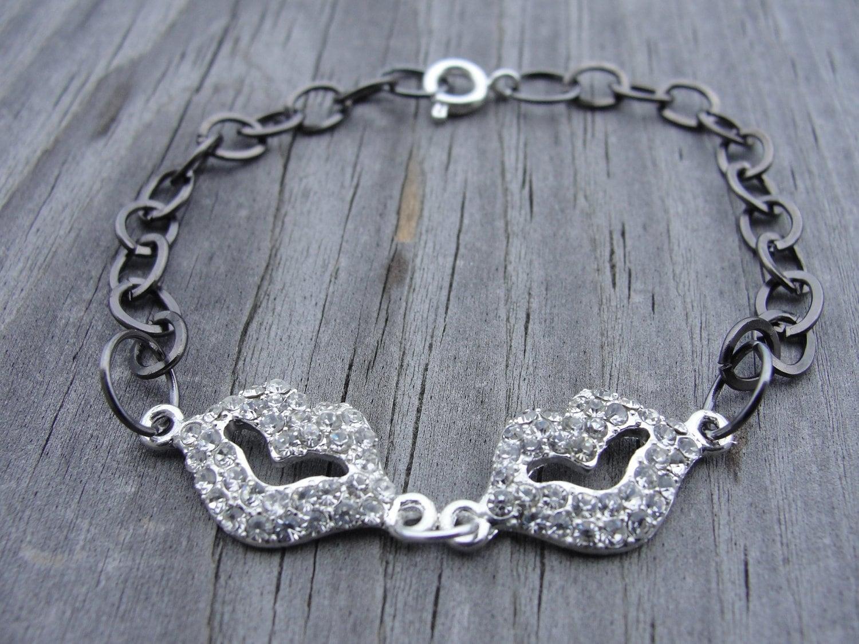 Crystal Lips Gunmetal Chain Bracelet
