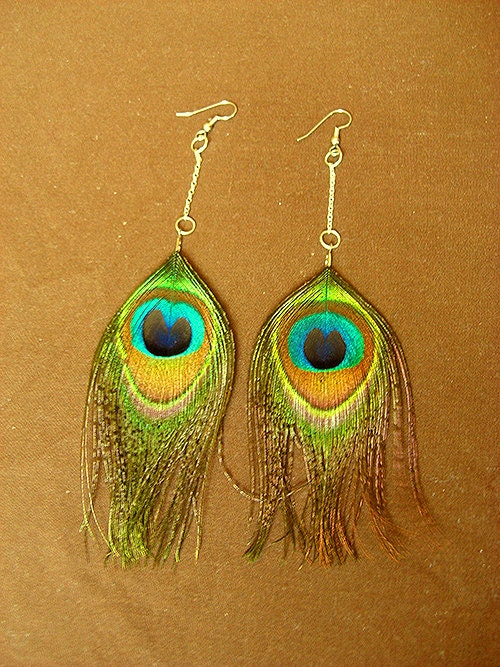 Small Peacock Feather Earrings