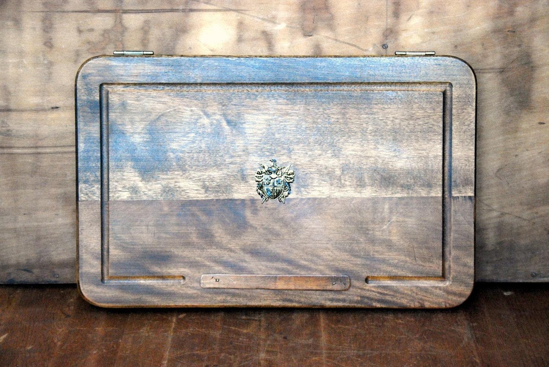 Fleur de lis vintage folding wooden serving tray by vintagegrove - Fleur de lis serving tray ...