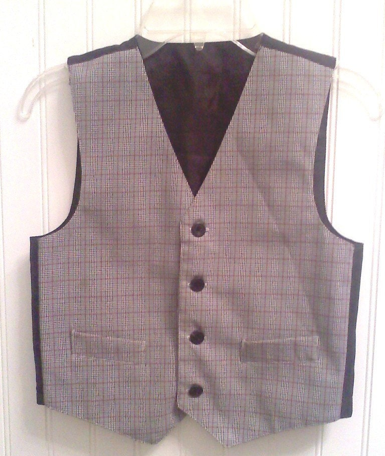 Vintage black, grey, white and redish plaid  vest for little boys  (size 6-7)