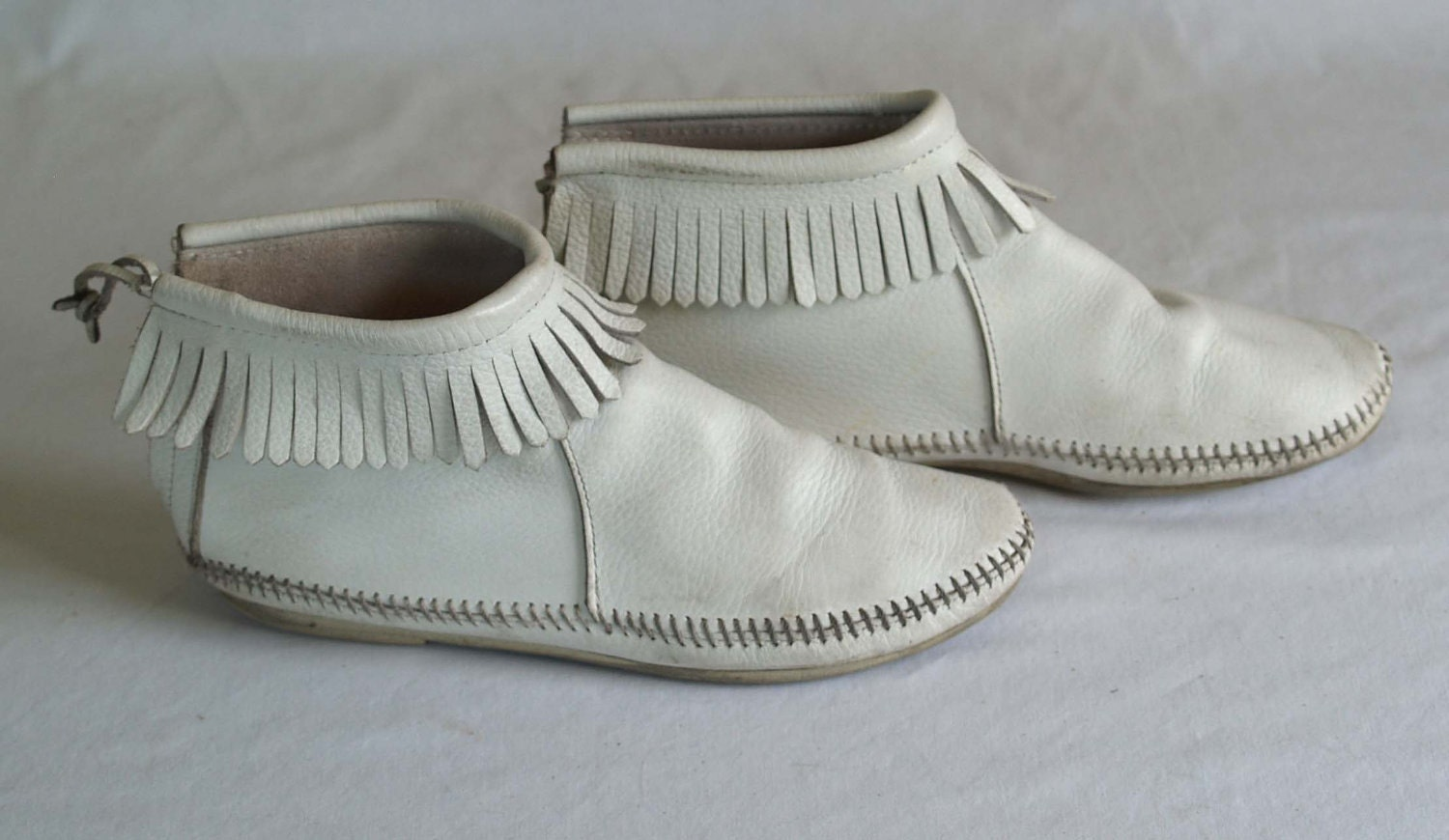 vintage moccasin ankle boots in white by rabbithousevintage