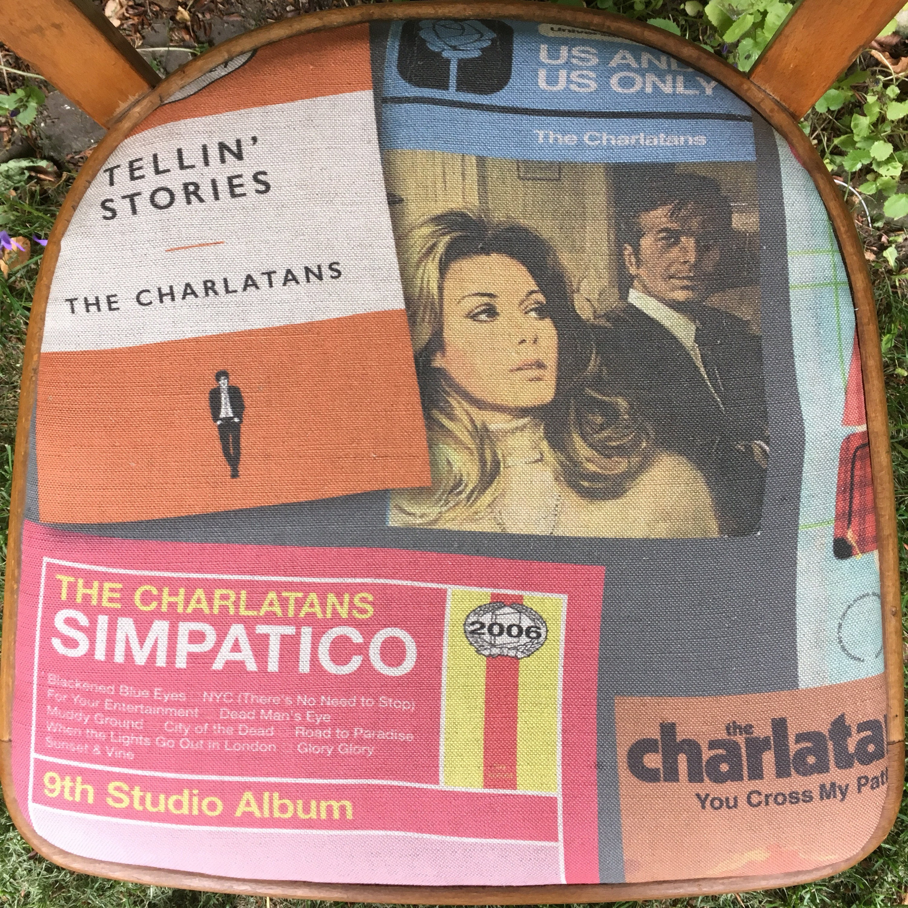 Retro vintage kitchen chair in charlatans albums as books fabric