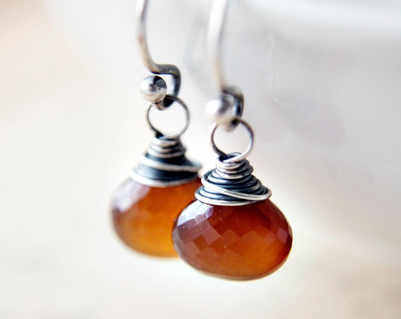 Spessartite Garnet Earrings Rust Orange Autumn Dangle Birthstone Silk Road Spice - PoleStar