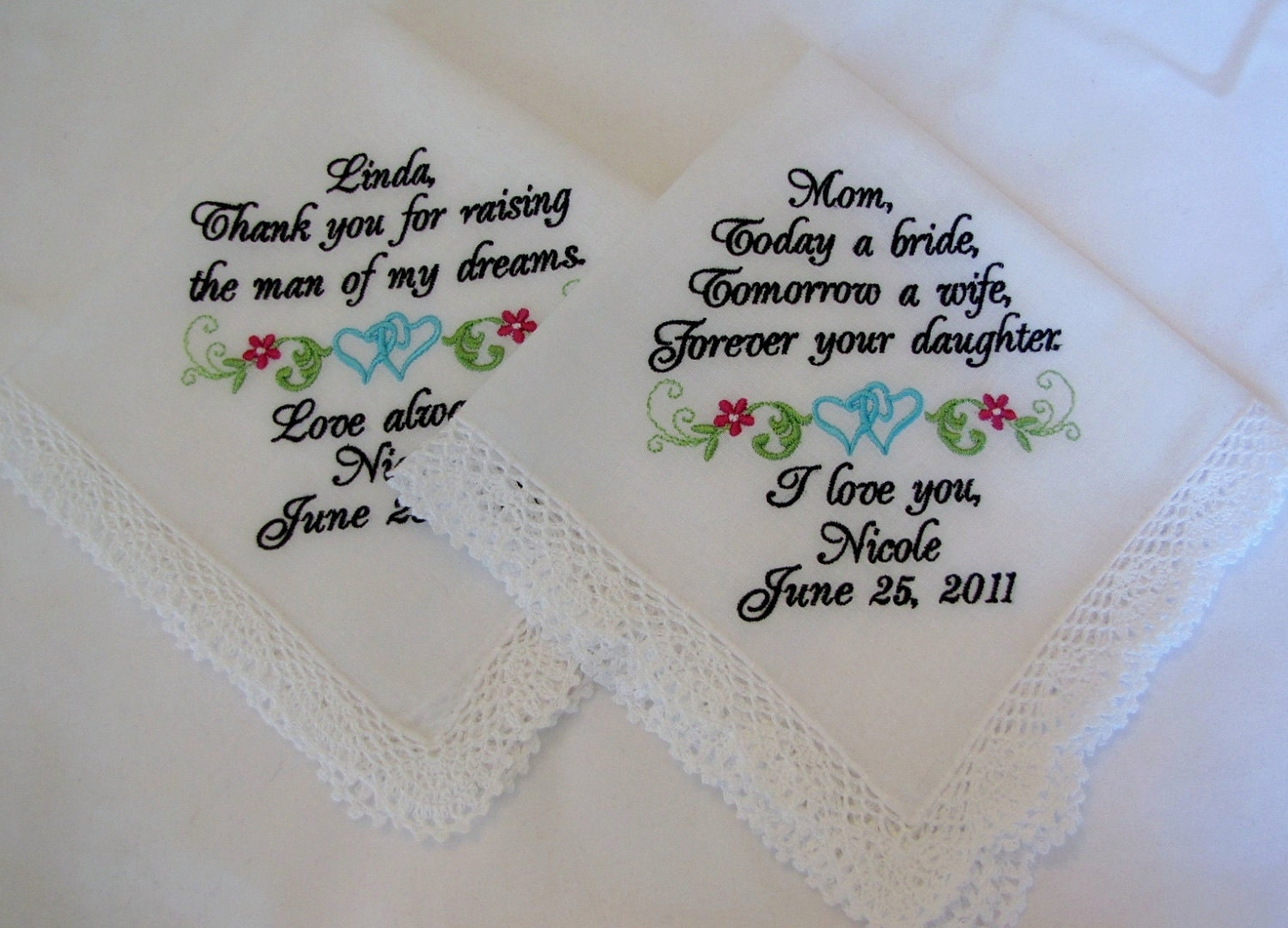 Two Personalized Wedding Handkerchiefs For Mother By Mollyandmom