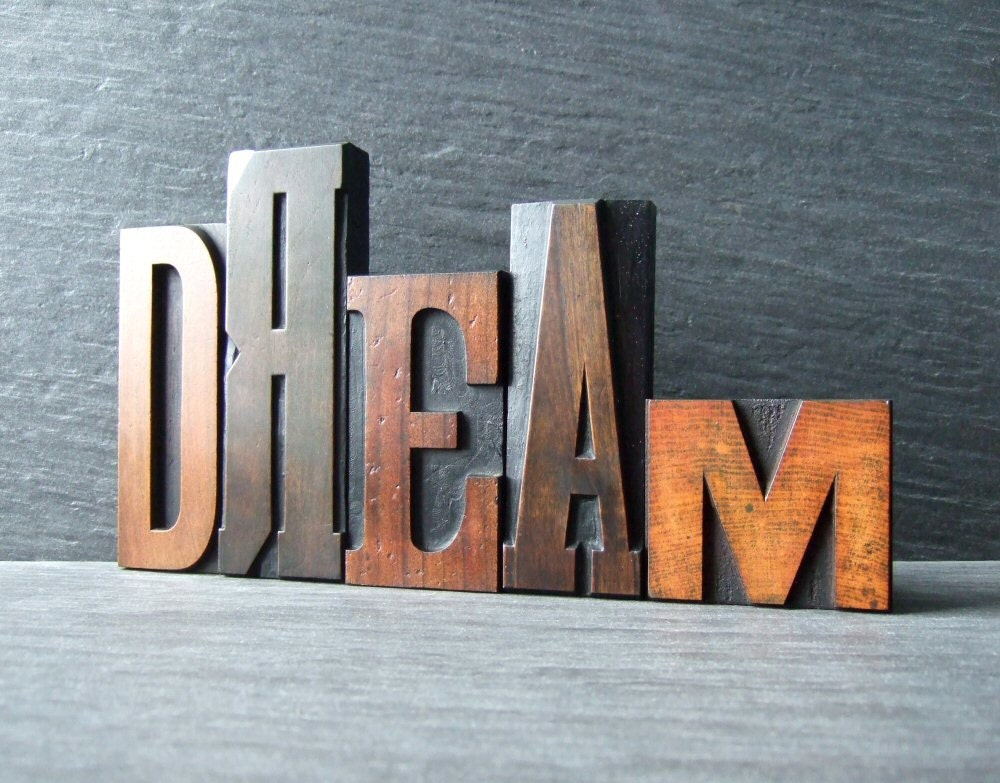 DREAM - Vintage Letterpress Word - HandmadeByAlison