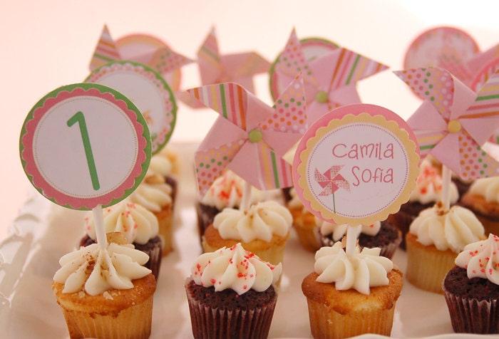 Pinwheel Cupcake Toppers for a Pinwheel Party-ONE DOZEN by Fara Party Design - FaraPartyDesign