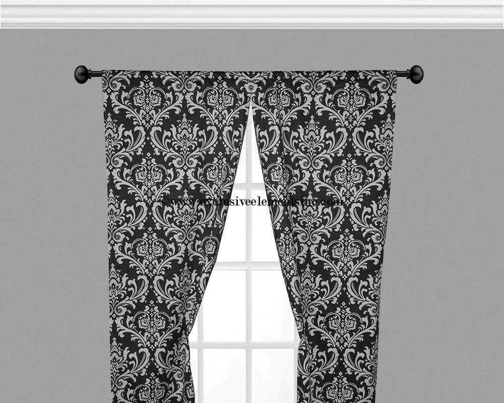 Damask Curtain Panels Black And White Damask By