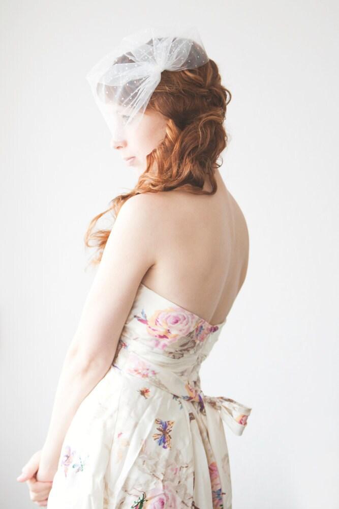 Wedding Veil, Birdcage Veil, Polka dots, Short Veil - Polka Dot Blusher Veil