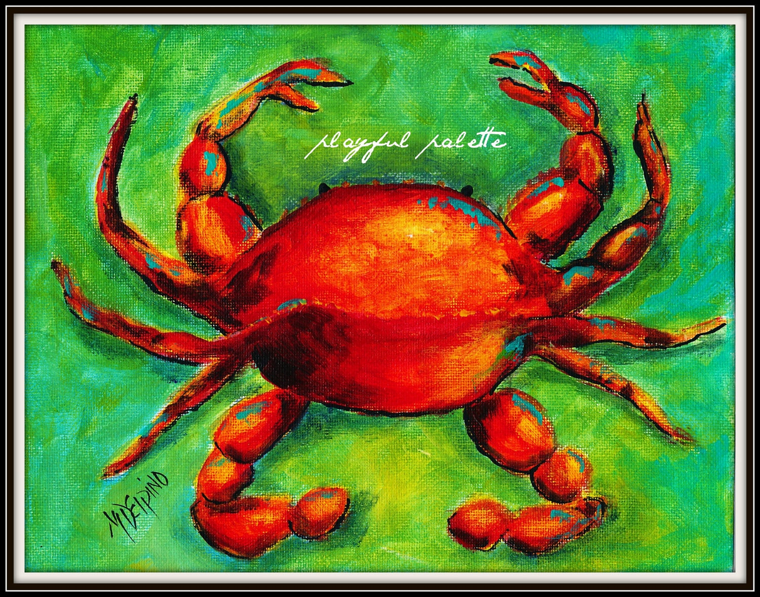 Items similar to red crab nautical seafood restaurant art