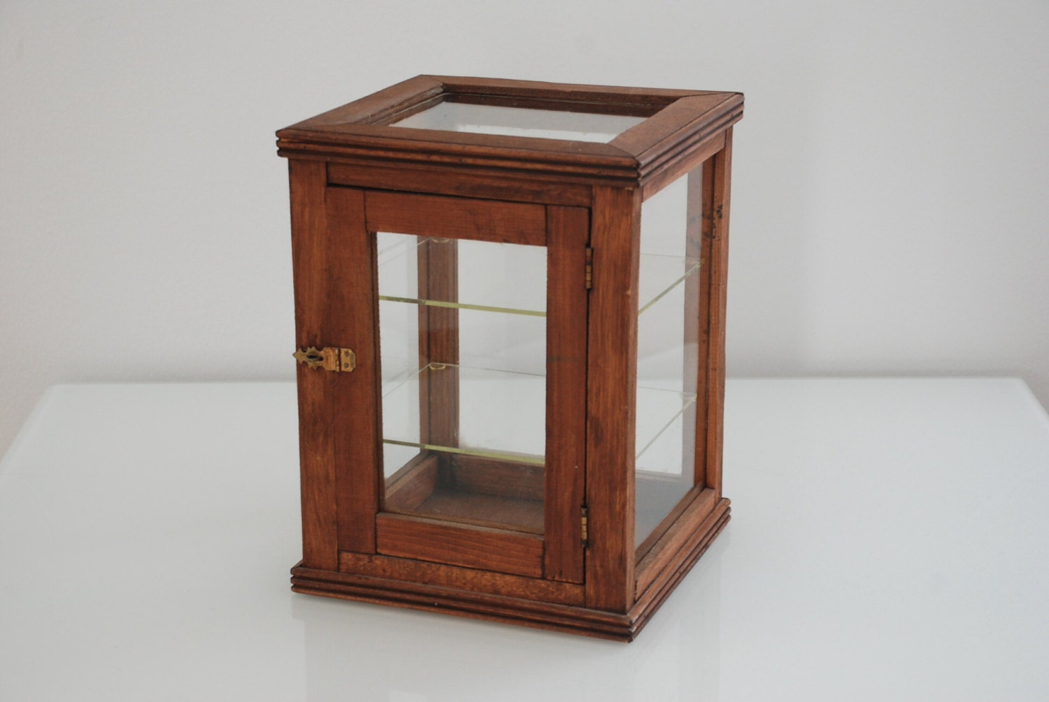 Apothecary Wood Display Box Vitrine Vintage Rustic Home Decor