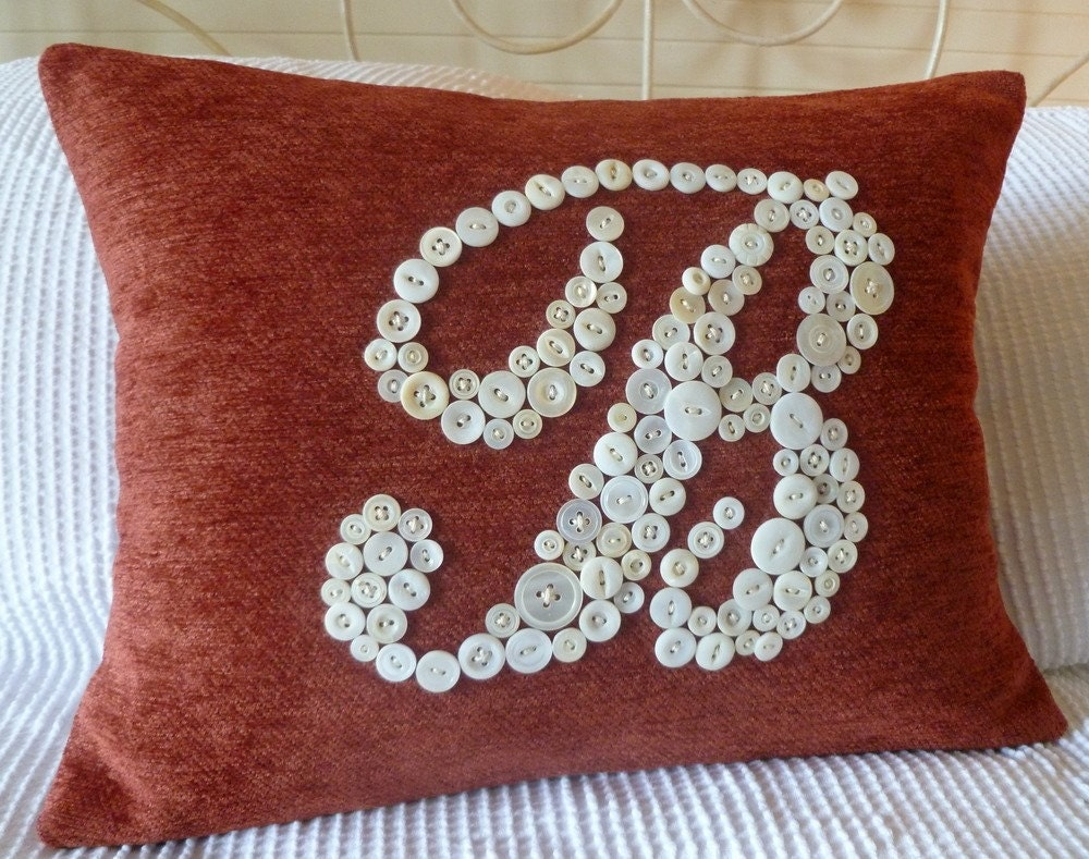 Personalized Pillow, Monogrammed Pillow, Letter B, Unique Wedding Housewarming Gift, Custom Design Your Own Pillow