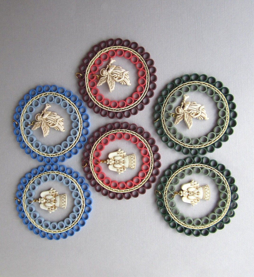 Items similar to Quilling Christmas Ornaments, Angel - Green, Blue ...