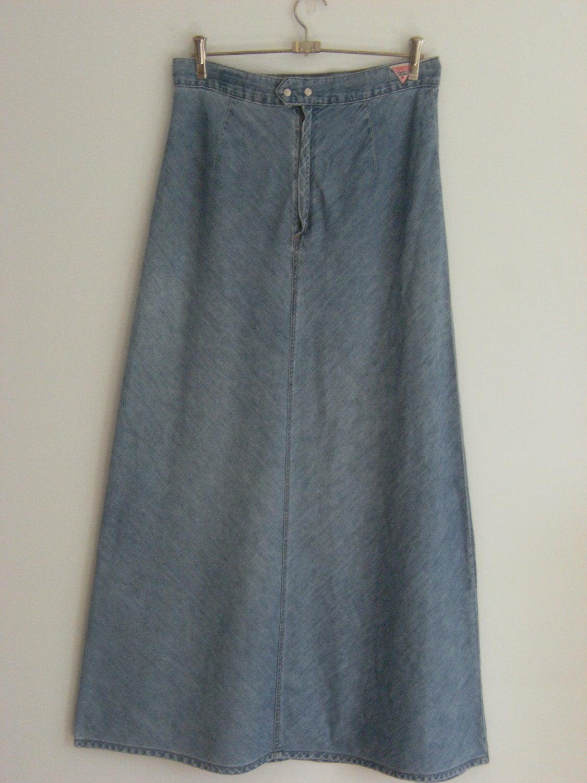 items similar to vintage denim high waisted maxi skirt on etsy