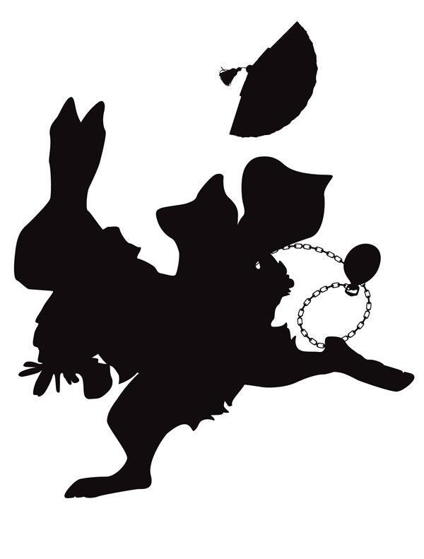 Alice s White Rabbit  So Late - 8x10 Silhouette PrintWhite Rabbit Silhouette