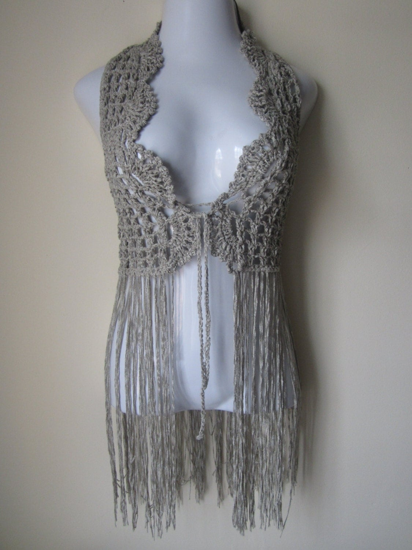 Free Gypsy Vest Crochet Pattern : Crochet vest, FESTIVAL VEST, Fringe vest, Elongated ...