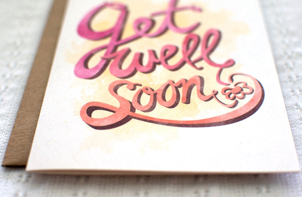 Get Well Soon Card - Eco Friendly, Cursive, Greeting