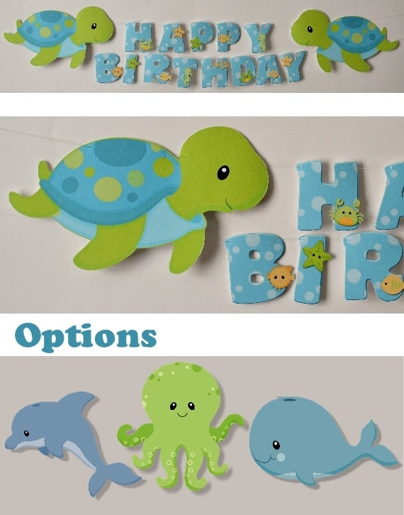 boy sea turtle party banner baby shower party by bcpaperdesigns