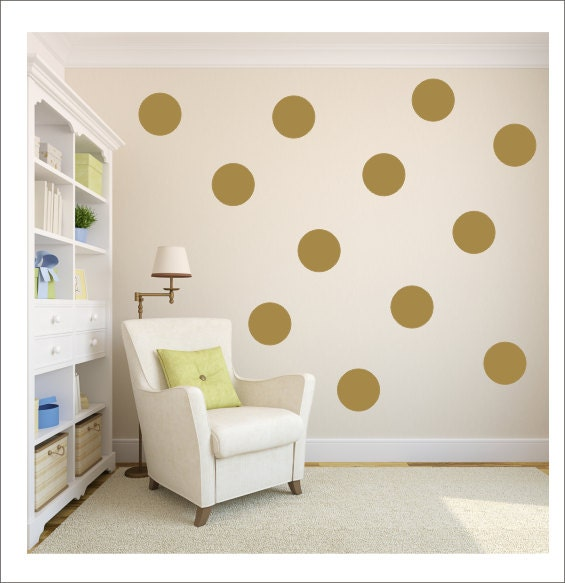Gold polka dots vinyl wall decals gold by customvinylbybridge for Polka dot decorations for bedrooms