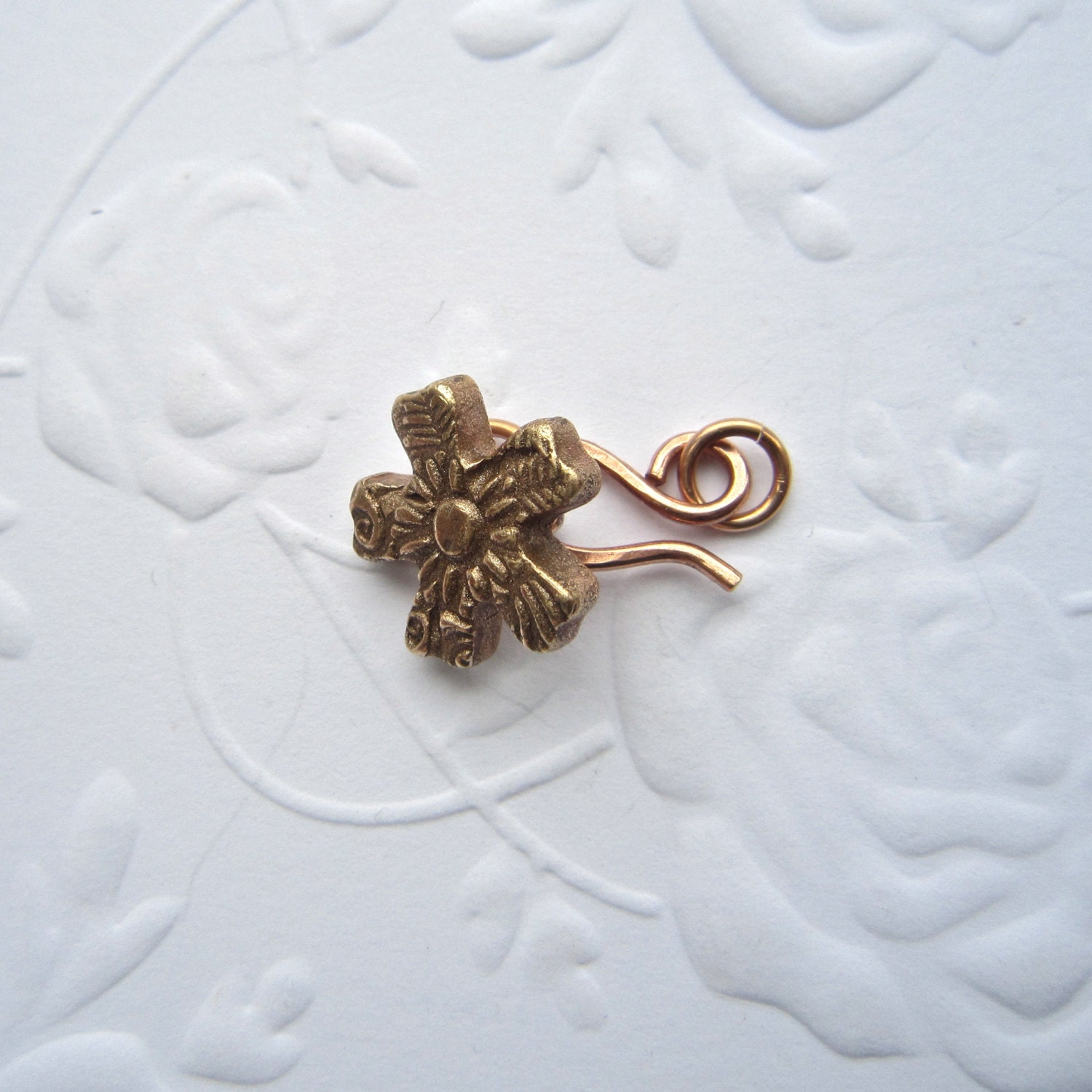 Bronze clasp set, button and hook clasp,floer clasp, handmade clasp, - THEAtoo