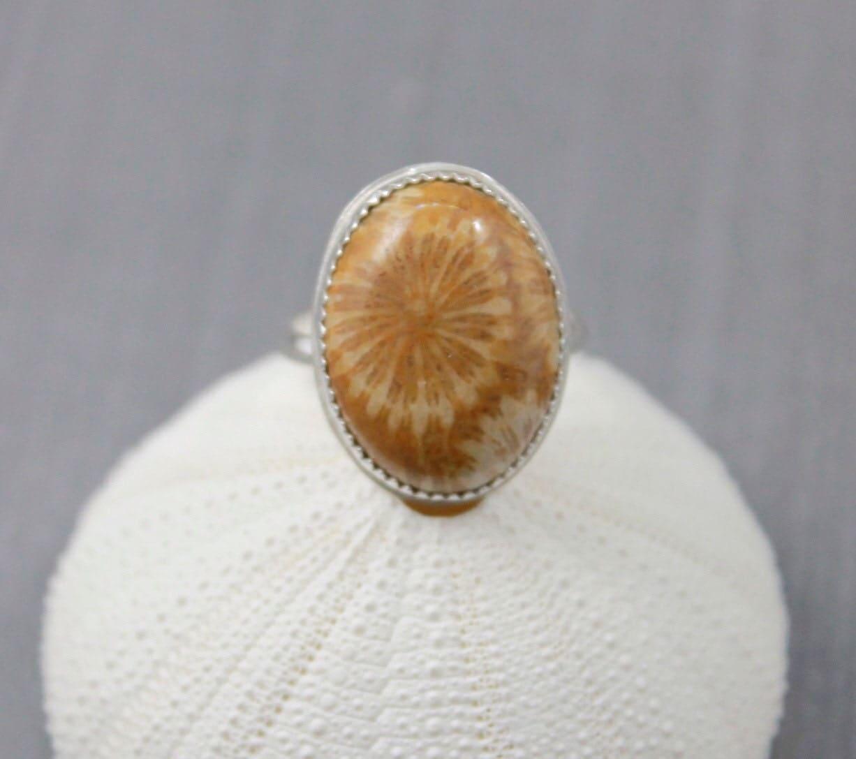 Fossil Ring Bezel Set Coral Gemstone Ring Gemstone Ring Stacking
