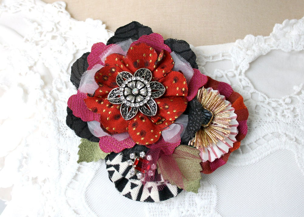 Wedding Gown Flower Pin Ruby Red, Black, White, Rhinestone