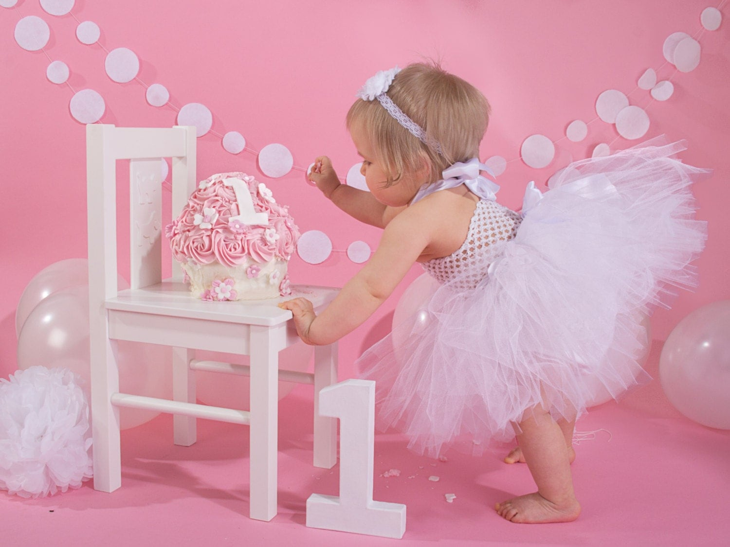 Cake Smash TuTu Dress 12 1st 2nd 3rd Birthday Outfit Photo Shoot Prop 03 Years BABY  Pink or ANY COLOUR