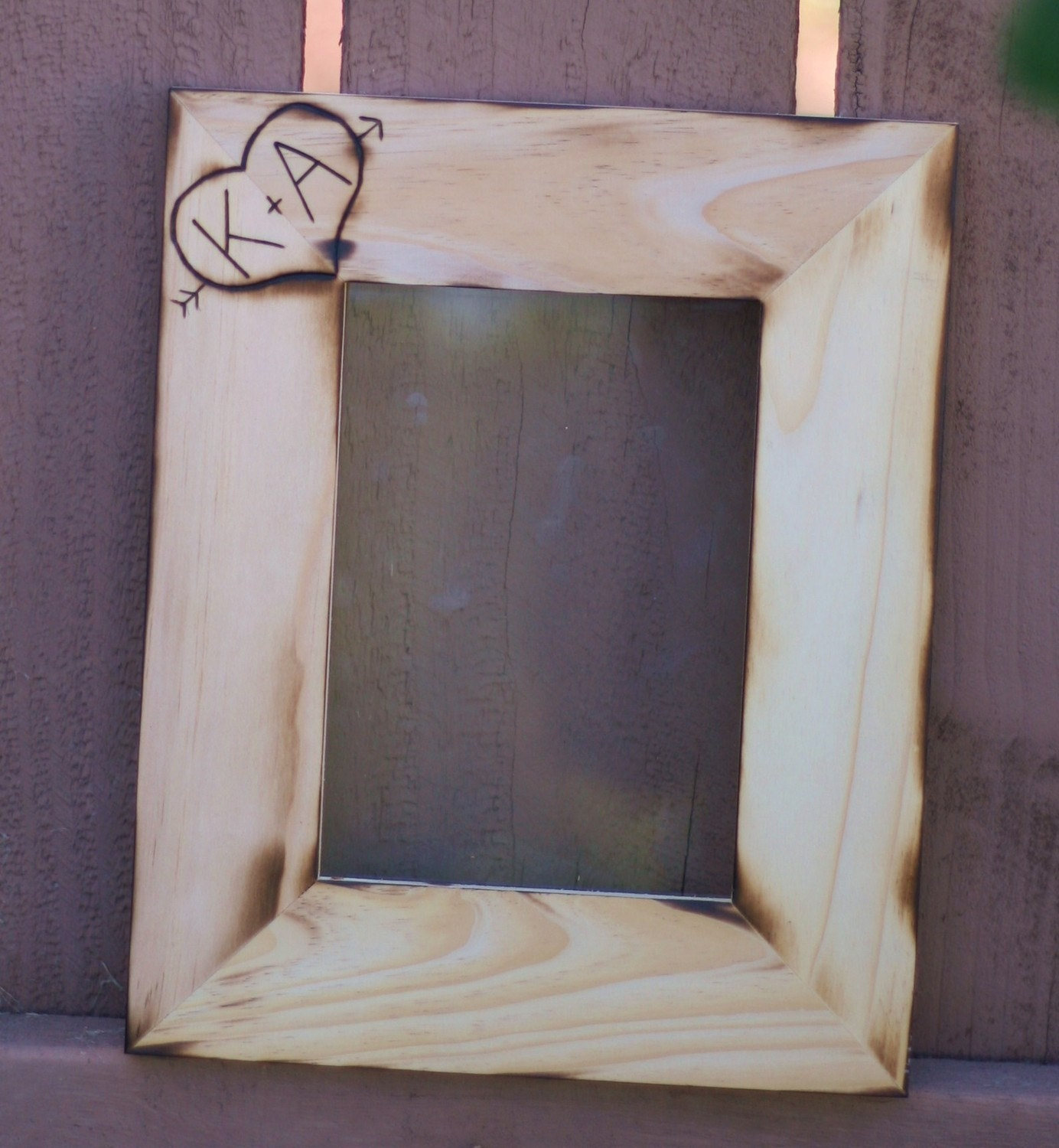 Wedding Engraved Photo Frames : Personalized Wedding Frame Engraved Rustic Wood (item E10255)