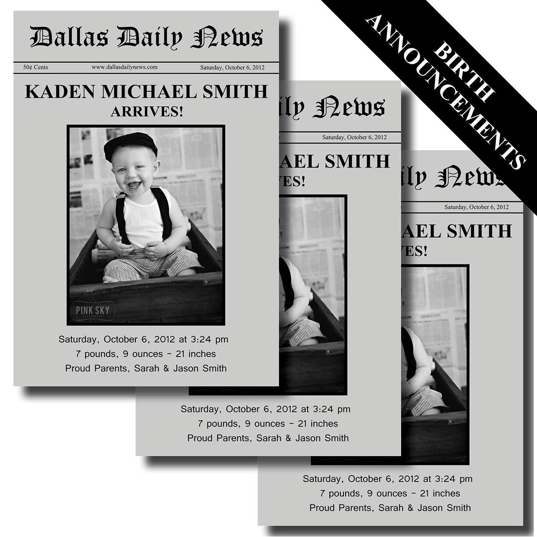 newspaper birth announcement printable by lesliemariedesigns