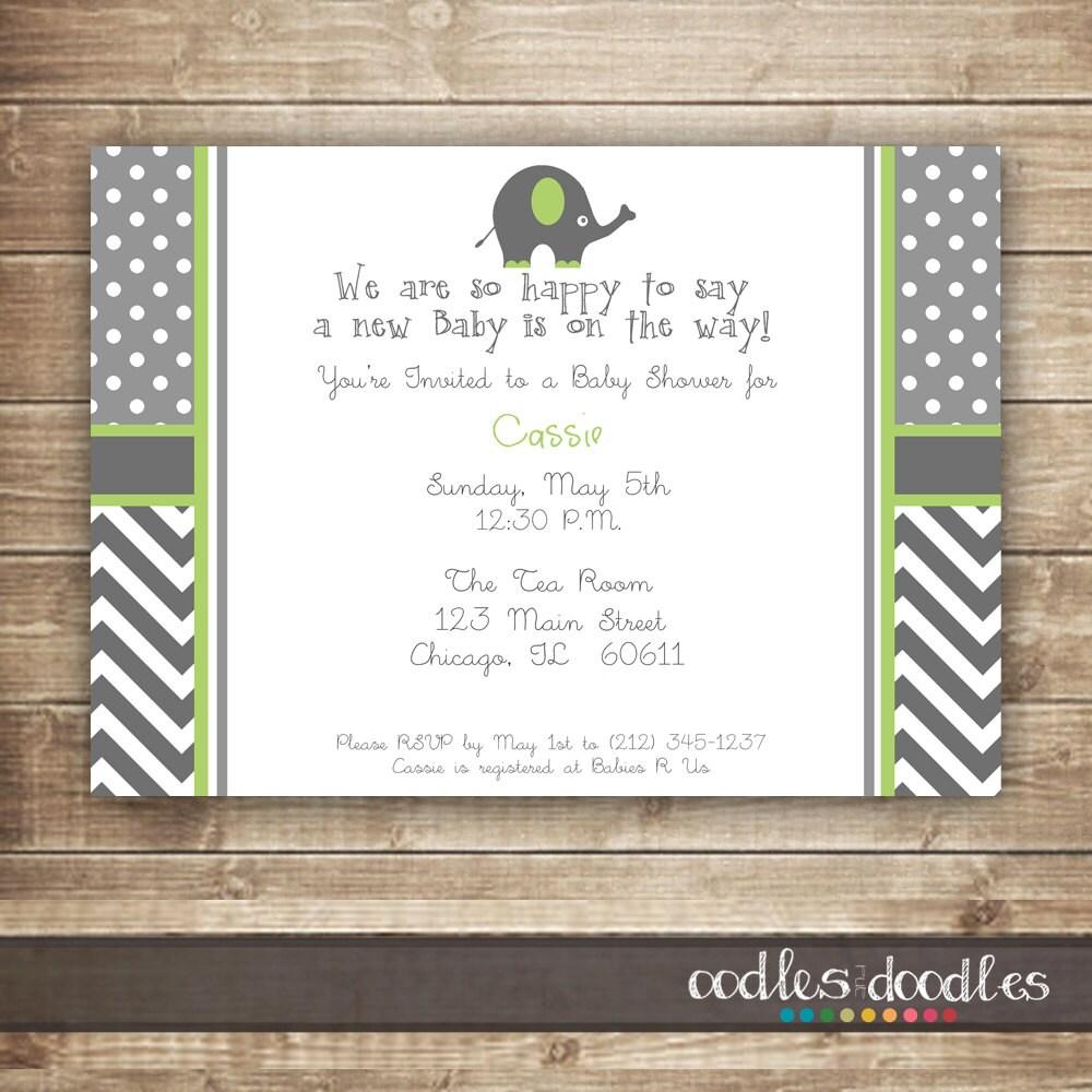elephant baby shower invitation gender neutral baby shower polka
