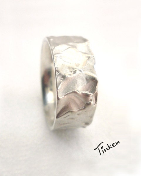 Wedding band, sterling silver, hand-carved - made to order