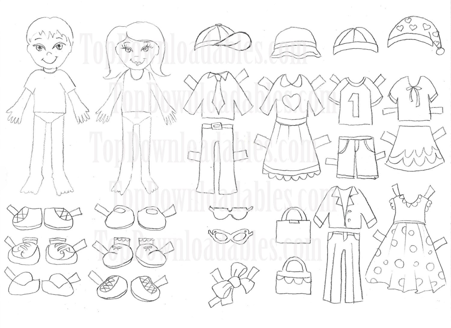 Coloring Paper Doll Kids Sheet Digital by TopDownloadables on Etsy