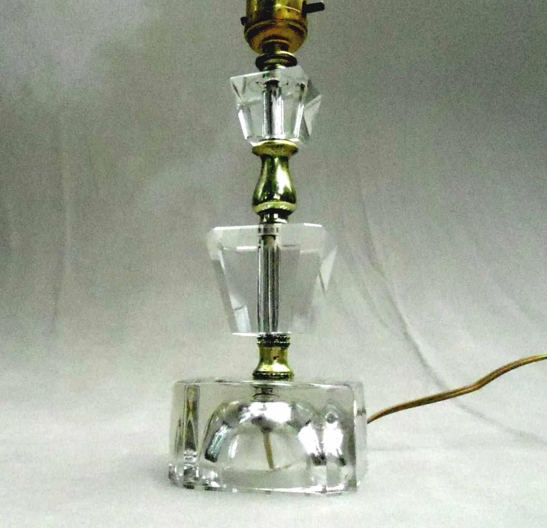 vintage crystal glass lamp bedside table lamp 1950s decor. Black Bedroom Furniture Sets. Home Design Ideas
