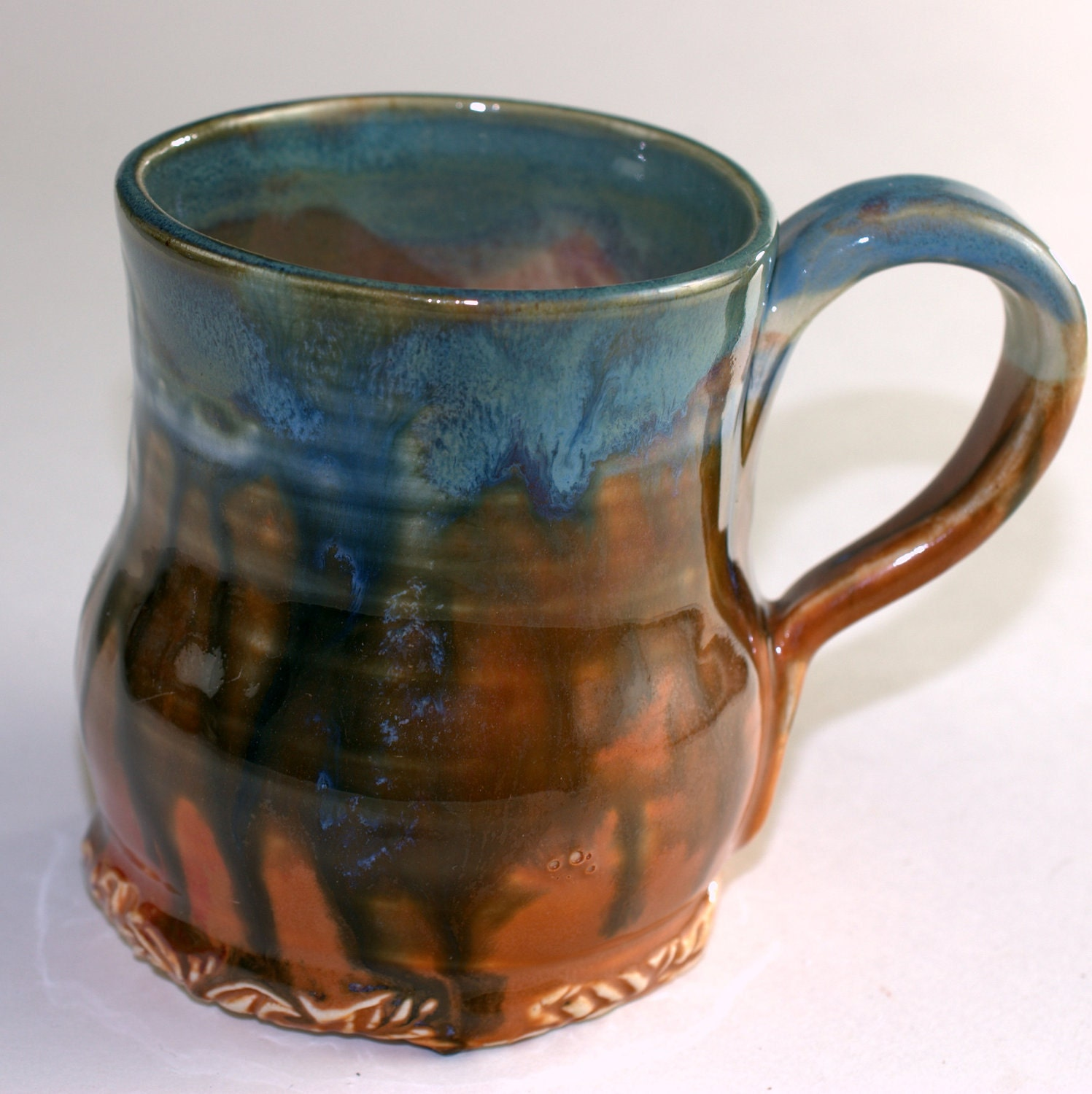Mug Coffee 10 oz Rust and Blue Ceramic Mug, Handmade Teacup - PrimitivePots