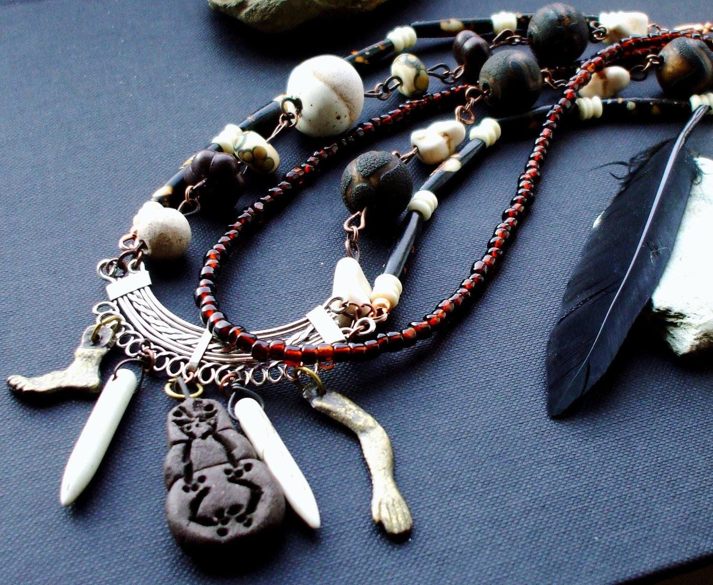 Tribal layered Necklace Warrior Nomadic Spiritual Tiki carved agate ceramic Nomad Spirit