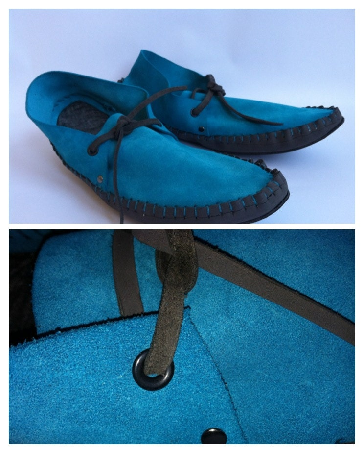 23 Tribes - gray snow - teal suede and steel colored oiled leather moccasins