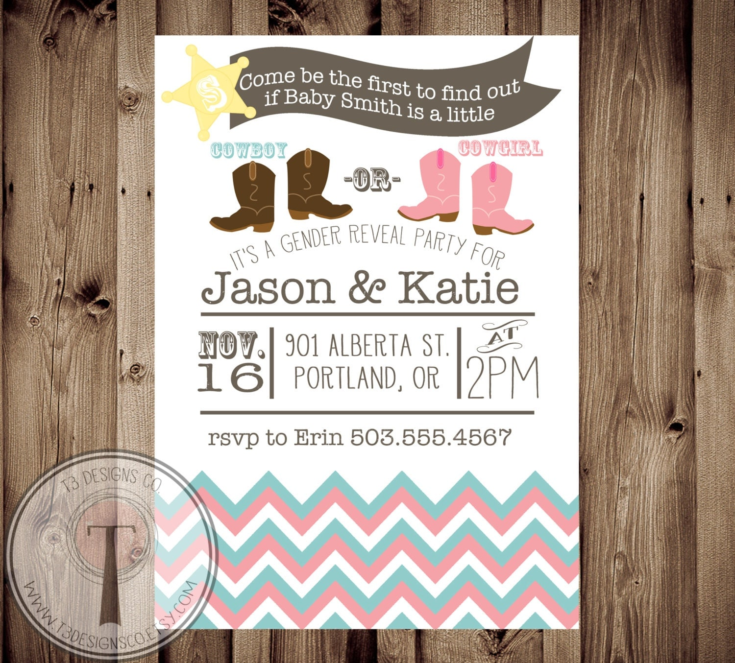 COWBOY OR COWGIRL Gender Reveal Party Invitation by ...