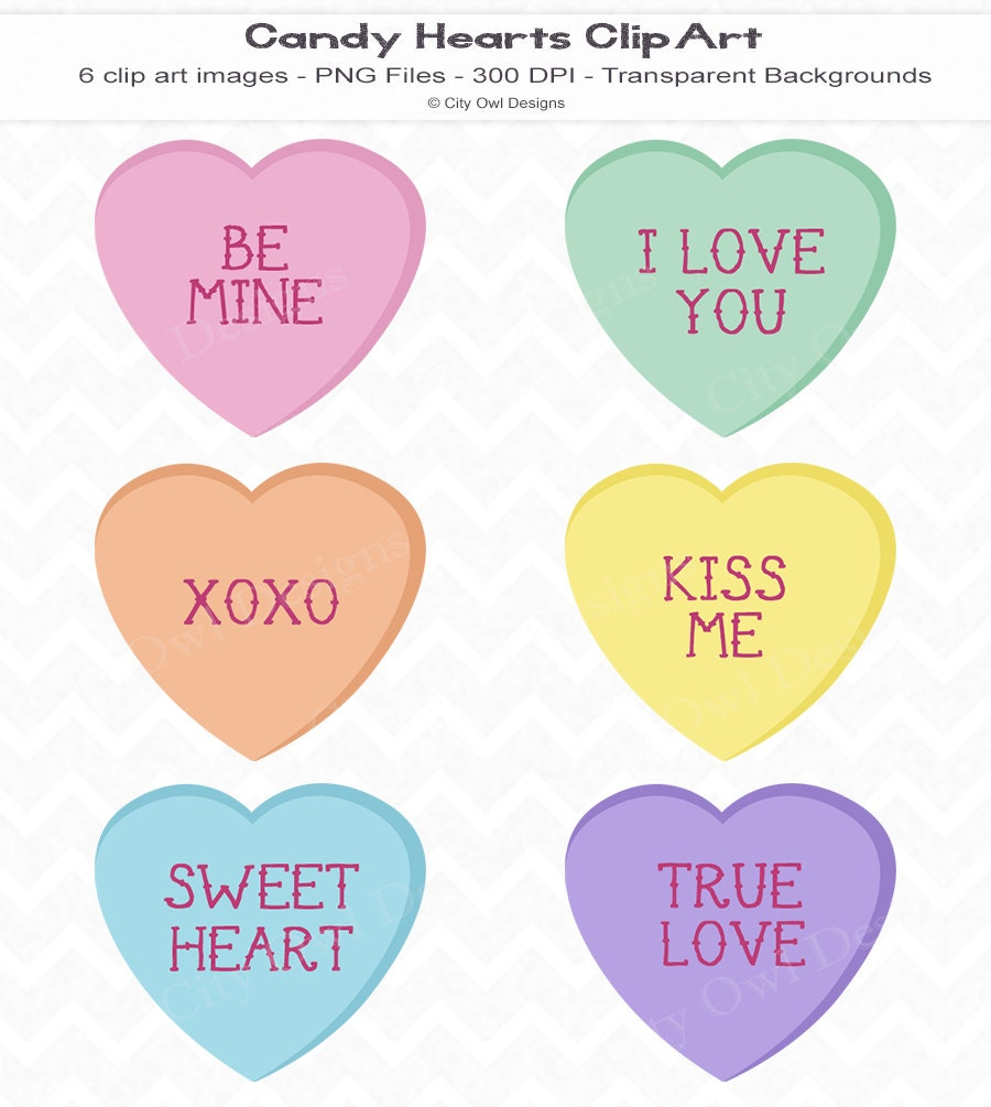 Candy Hearts Clip Art  Digital Scrapbooking  Instant Download    Valentine Candy Hearts Clip Art