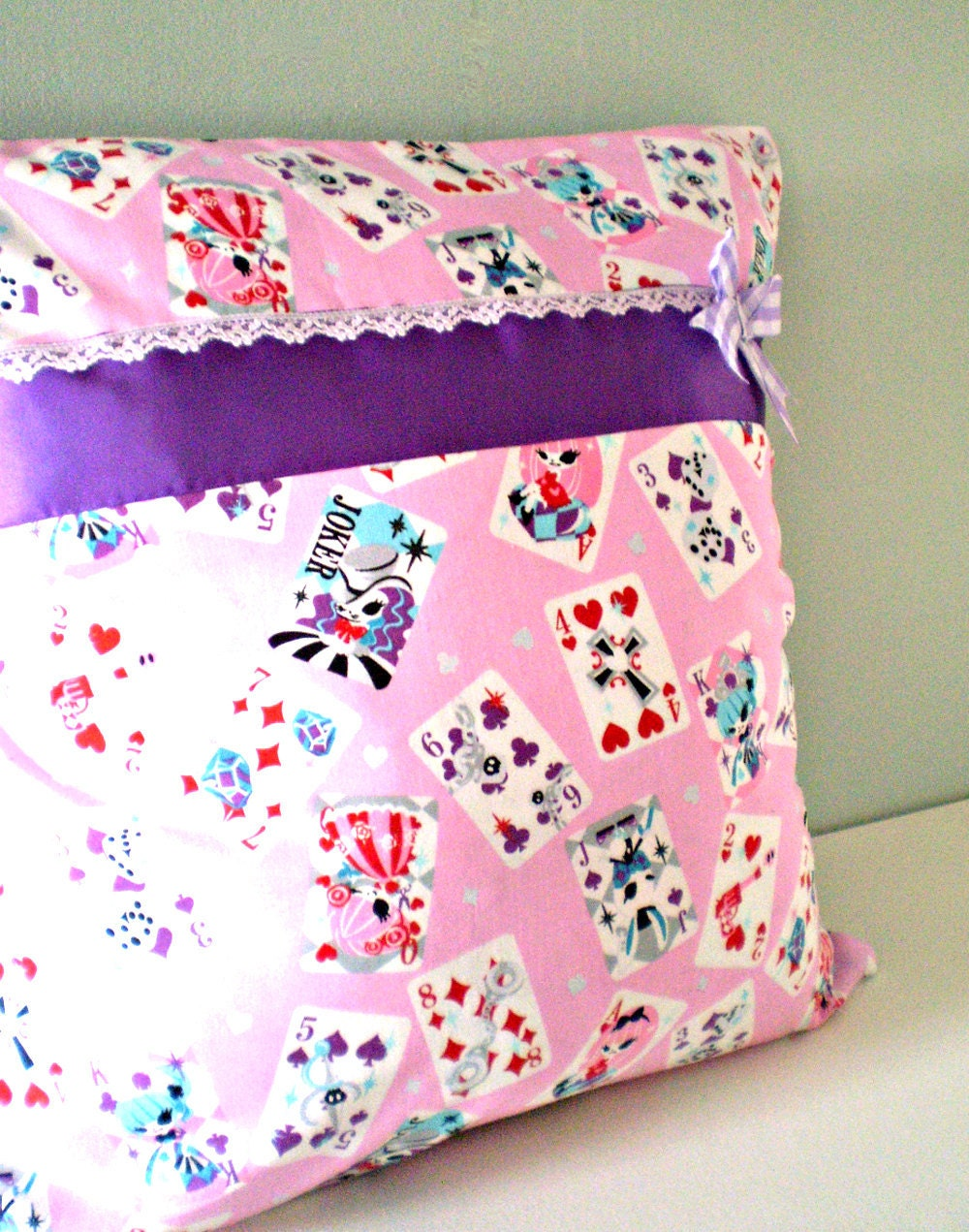 Pink Alice Ribbon Embelished Cushion Cover